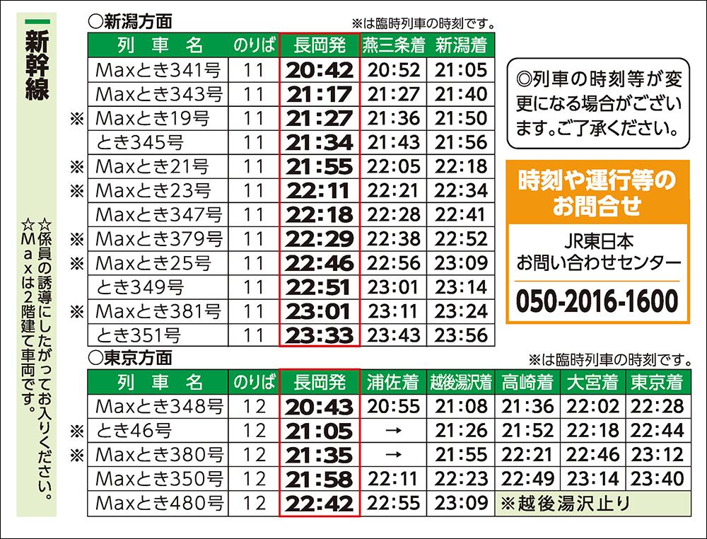 長岡駅 時刻表